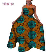 2019 New Fashion African Dresses for Women Collarless Dashiki Design Dress African Lady Casual Printed Ball Gown Long Skirt