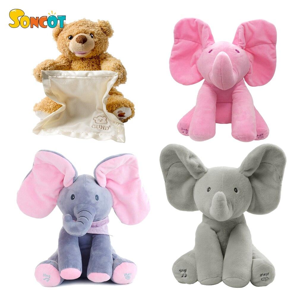 SONCOT 30 cm Peek a Boo Elefante hide and seek teddy bear urso de pelúcia brinquedo bonito dos desenhos animados cheio de aniversário das crianças presente de ano novo