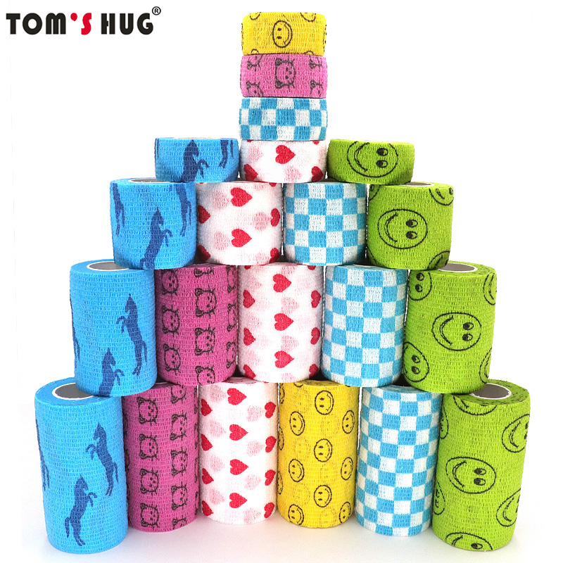 1 Pcs Colorful Medical Therapy Elastic Bandage Printed Self Adhesive Wrap Tape 4.5m Sports Protector For Finger Joint Knee Pet