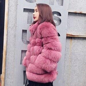 Image 2 - Zadorin 2020 プラスサイズ冬上着毛皮フェイクファーのコートの女性高襟長袖フェイクファージャケットをfourrure abrigosのmujer