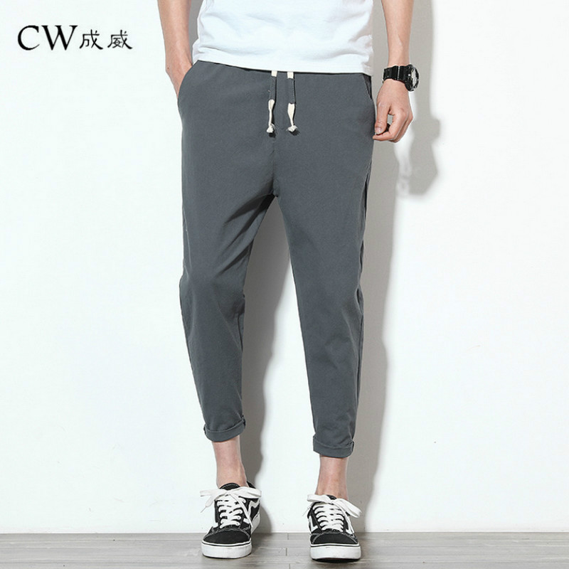 Casual Pants Trousers White Straight Linen Elastic-Waist Men's New Summer Cotton Natural