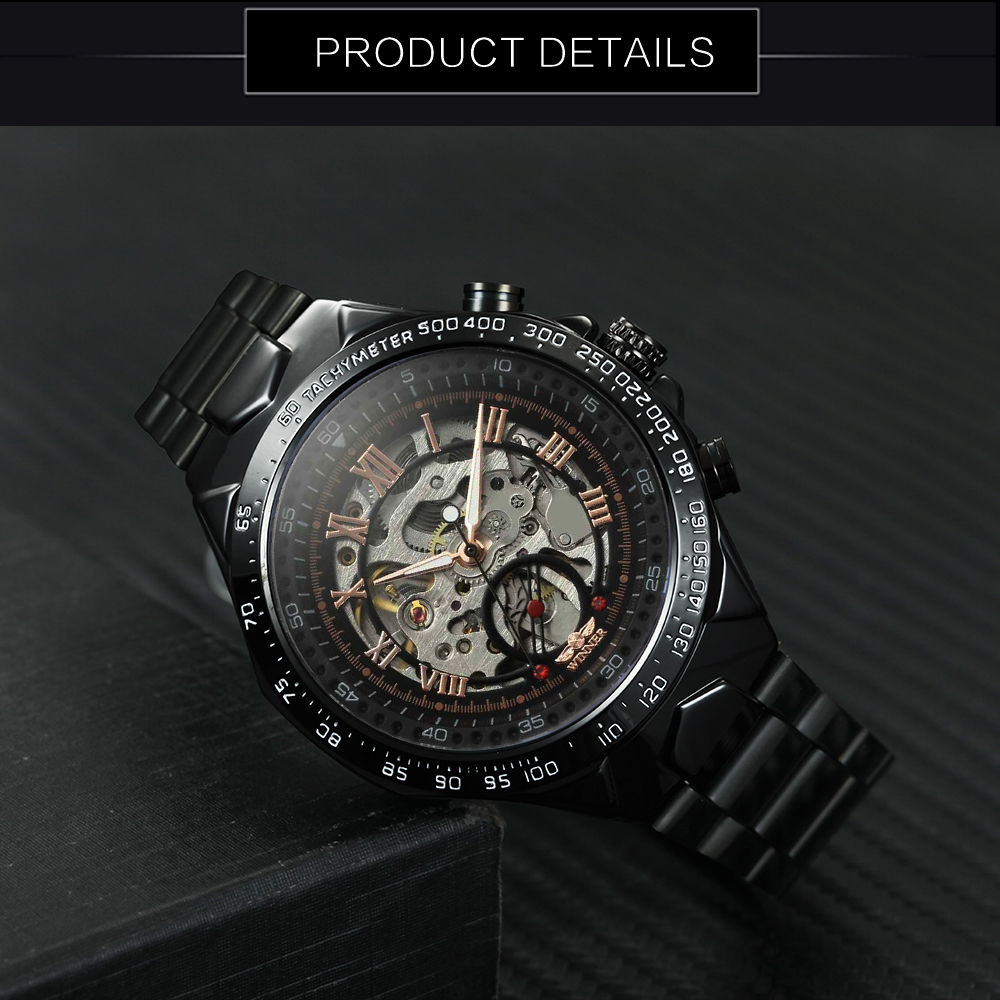 Image 4 - 2018 Black Rose Gold WINNER Men Watch Cool Mechanical Automatic Wristwatch Stainless Steel Band Male Clock Skeleton Roman Dial-in Mechanical Watches from Watches