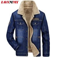 LONMMY M 4XL Jeans Jacket Men Plush Liner Velvet Thickening Denim Jacket Men Coat Military Style