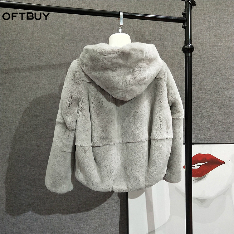OFTBUY 2019 Real Fur Coat Winter Jacket Women Full Natural Rex Rabbit Fur Hood Streetwear Outerwear Casual Thick Warm Fashion