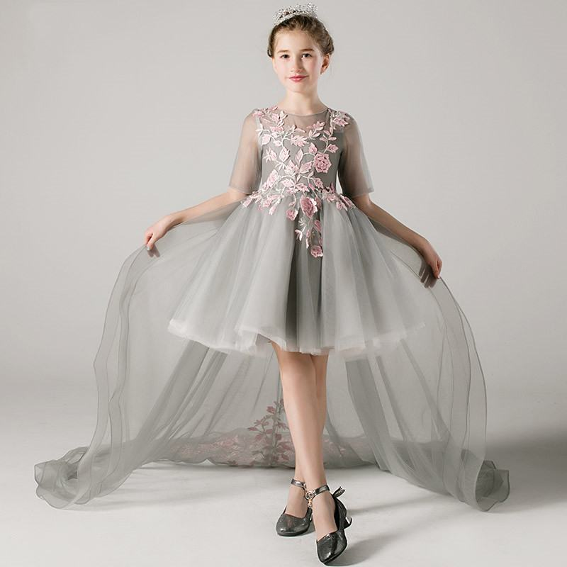 2019 New Kids Girl Lace Appliques Ball Gown Teen Girl Princess Wedding Birthday Party Dress Children Tulle Trailing Vestido Q7612019 New Kids Girl Lace Appliques Ball Gown Teen Girl Princess Wedding Birthday Party Dress Children Tulle Trailing Vestido Q761