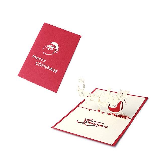 Handicraft 3D Holiday Greeting Cards Santa\u0027s Sleigh Deer Pop Up