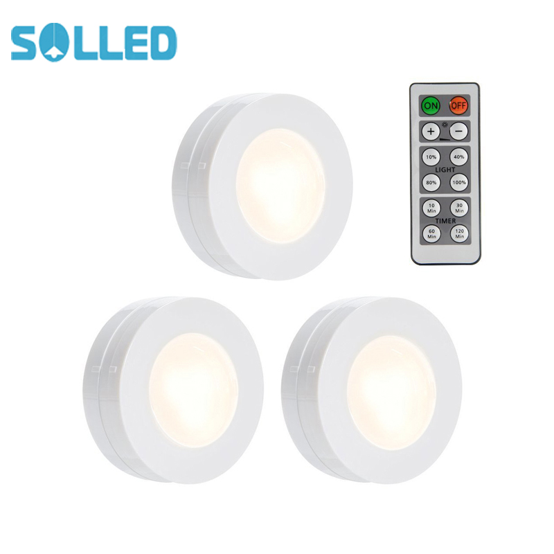 Solled 3 Packed Led Puck Lights Remote Controlled Closet