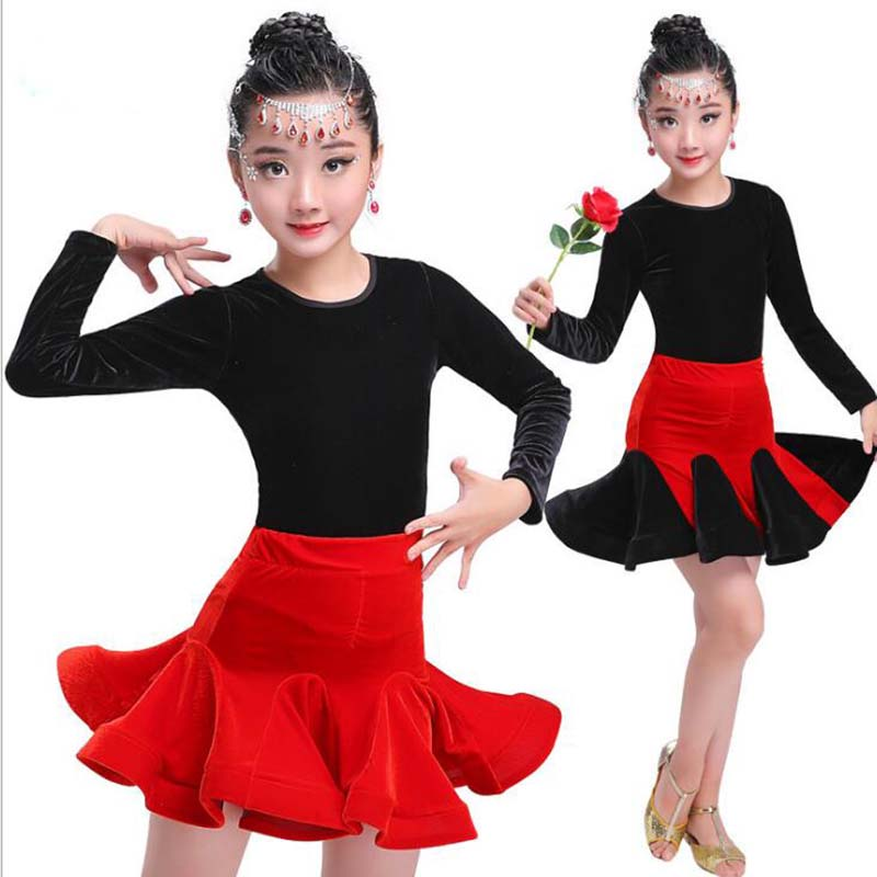 dance latin Dresses flamenco skirts Girls Party vestidis baile latinos latin competition dress for Girl Winter Long Sleeve