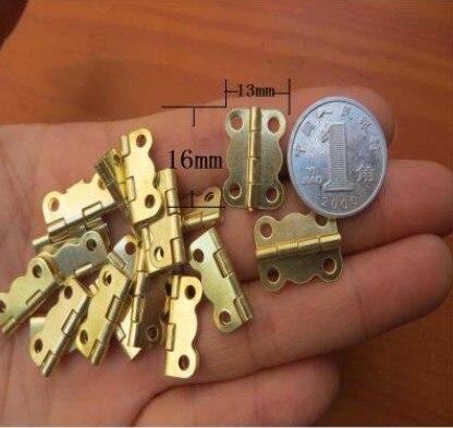 100 Pcs 16*13mm Mini dobradiça pequena dobradiça dobradiça caixa de madeira Dobradiça forma borboleta dourada