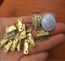 100Pcs Mini Hinge  butterfly shape golden hinge small wooden box 16*13 mm