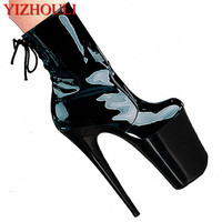 20cm Black sexy patent leather ankle boots, a low size, low bottom sex high heels, fine with special Dance Shoes