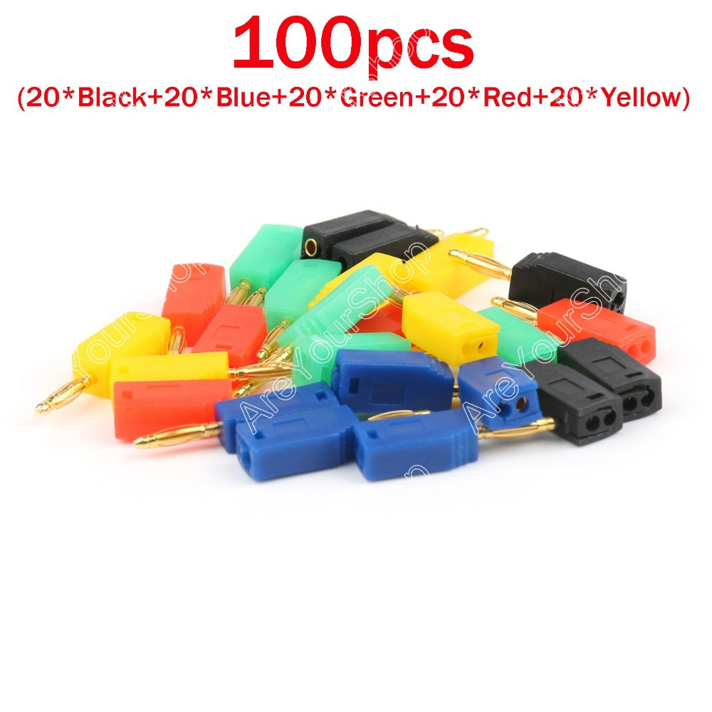 Areyourshop Hot Sale 100 Pcs 2mm 5 Color Gold Plated Banana Plug Connector areyourshop hot sale 20 pcs high quality 4mm banana plug gold plated red black length 40mm connector