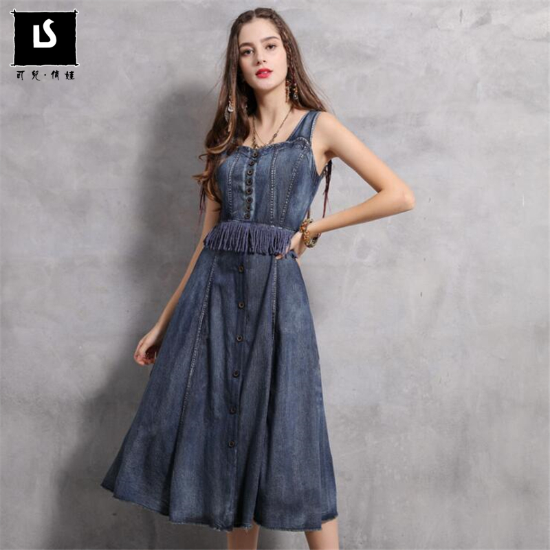 High Quality Spring Casual Vintage Tassel Splice Women Dress 2019 Summer Simple A line Slim waist