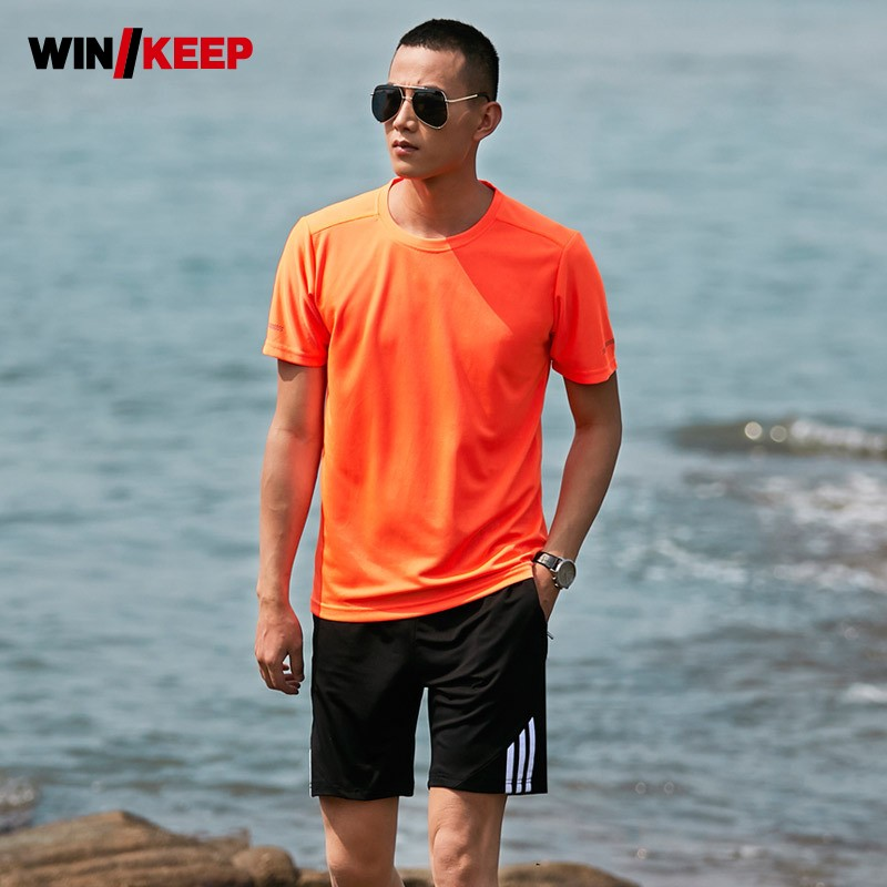 Men Summer Quick Dry Outdoor Exercise Tracksuit Sport Top Large Size M-8XL Beach Jogging ...