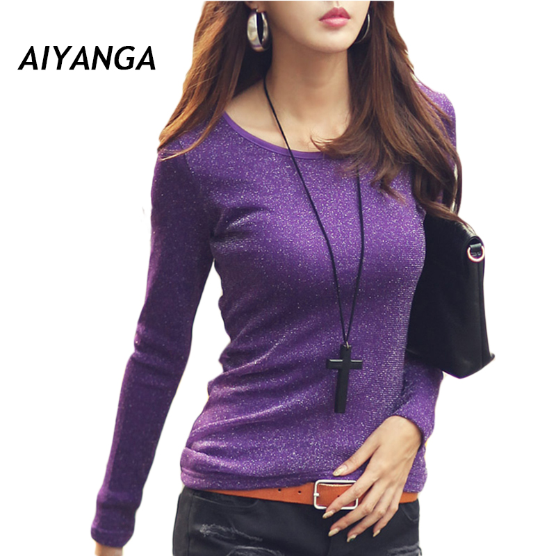 S-3XL 2017 Winter Thick Fleece T-shirts For Women Long Sleeve O Neck Slim Elasticity Plus Size Ladies Warm Under Shirts Tops 1