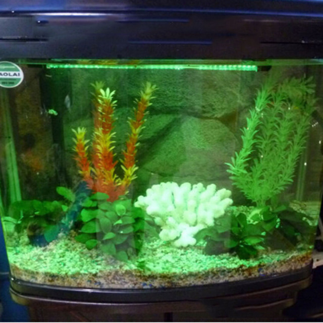 Us plug led sucker tube lamp green light color decoration for Tube fish tank
