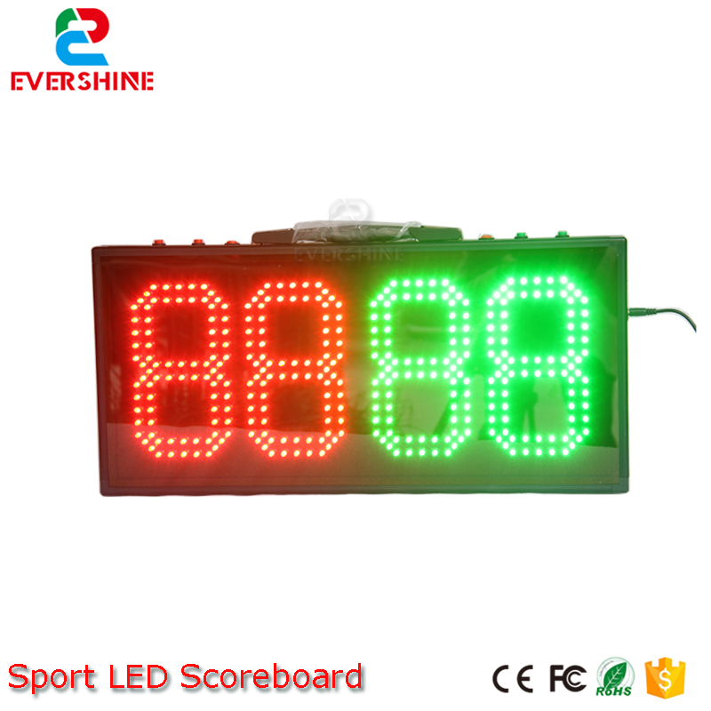 led electronic sports scoreboard 8 inch outdoor waterproof 4 digits red Green color dispaly 555mmx256mmx40m soccer court sign gamecraft remote for outdoor tabletop scoreboard