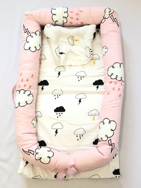 Детская кровать-гнездо с подушкой, детская кровать, snuggle nest. Co-sleeper, детская кровать для путешествий, детский кокон, детская кровать, детская спальная - Цвет: Cloud