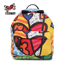 ROMERO BRITTO 2017 Free Shipping Hot Sale College Cartoon Backpack School Bags Female Bag Shoulder Bag Outside Backpacks