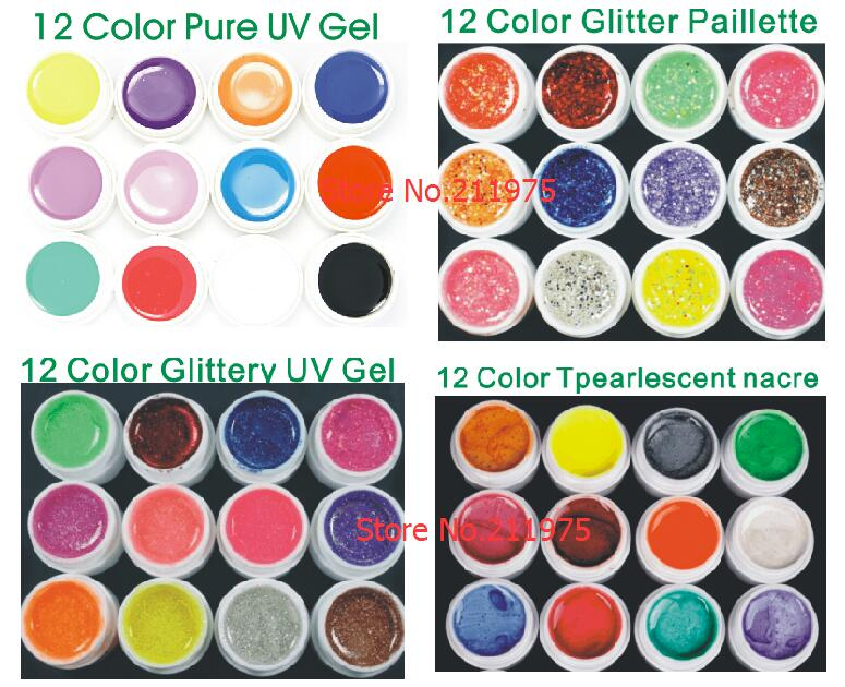 Pearls new 48 Mix color UV gel nail polish Pure+Glitter Paillette+ Glitter+pearlescent nacre colors nail art uv gel set gel kit dn2 39 mix 2 3mm solvent resistant neon diamond shape glitter for nail polish acrylic polish and diy supplies1pack 50g