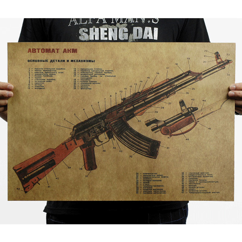 Vintage World Famous Gun Poster Military Kraft Paper Wall Sticker Home Decor