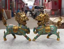 19cm China Copper Bronze Cloisonne Enamel Brave Troops Kirin Kylin Kilin Statue Pair(China)