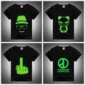New Arrival Boy T Shirt Cotton Kids 2016 Summer Night Light Neon Print Shirt Top Tees Children Streetwear Hip-hop Tees For 2-12Y