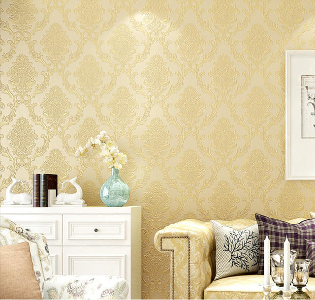 Victorian Yellow 3D Damask Wallpaper For Walls Vintage Wall Paper Roll Coverings 10M Home