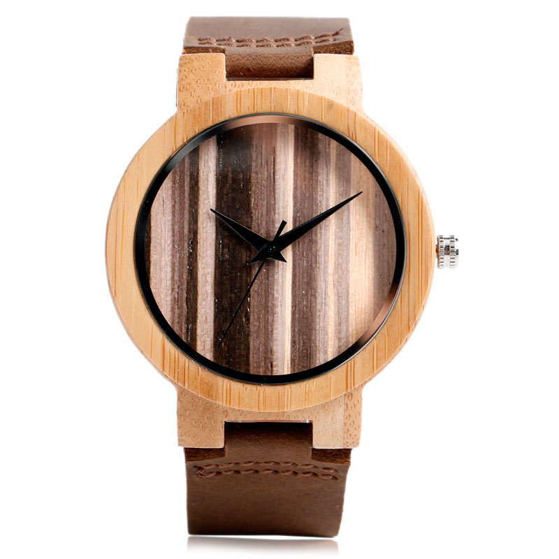 Creative Wooden Bamboo Wrist Watch Genuine Leather Band Strap Nature Wood Men Women Quartz Casual Sport Bangle New Arrival Gift