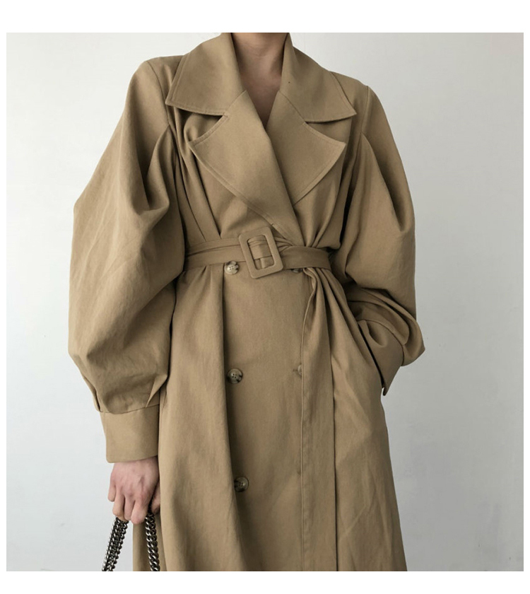 Autumn 19 Woman khaki Long Trench Coat British Style Vintage Puff Sleeve Long Dust Coat Elegant Waist Bandage Windbreaker 6