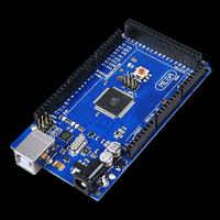 Envío gratuito Mega 2560 R3 Mega2560 REV3 ATmega2560-16AU Junta + Cable USB compatible con Arduino Mega 2560 r3 caliente