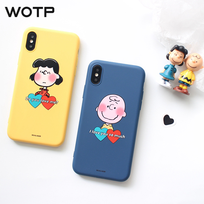WOTP Cute Cartoon Couple Soft TPU Phone Case For iPhone XS Max XR 6 6S 7 8 Plus X Fashion INS Love Heart Letter Back Cover NEW アイフォン xs ケース 人気