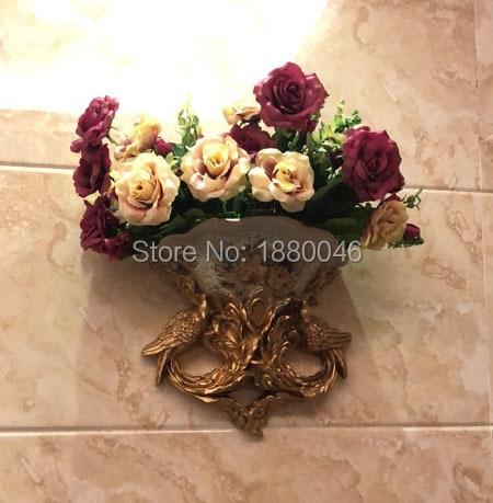 Nova marca europeia resina pavão vaso cesta de flores retro mural parede quarto sala estar decoração pingente - 6