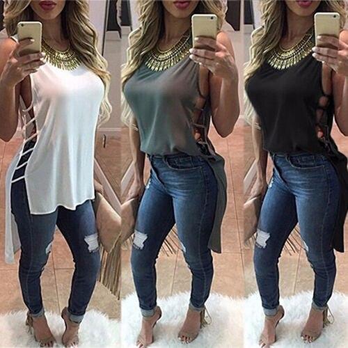 Women Summer Vest Sleeveless Blouse Cocktail Casual Chiffon Lace Up   Tank     Tops   T-Shirt