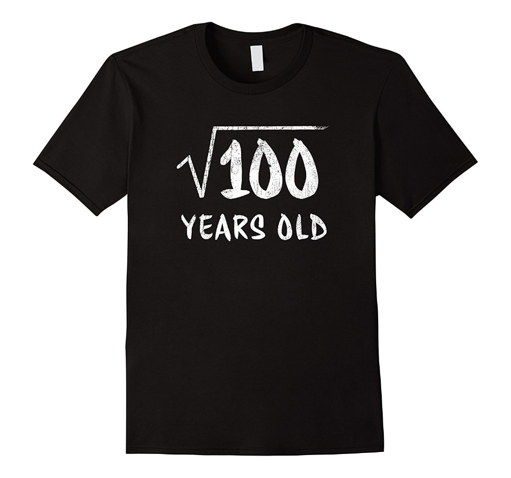 T Shirt Shop Short Men Funny Crew Neck 10Th Birthday Square Root Of 100 10 Year Old T Shirt