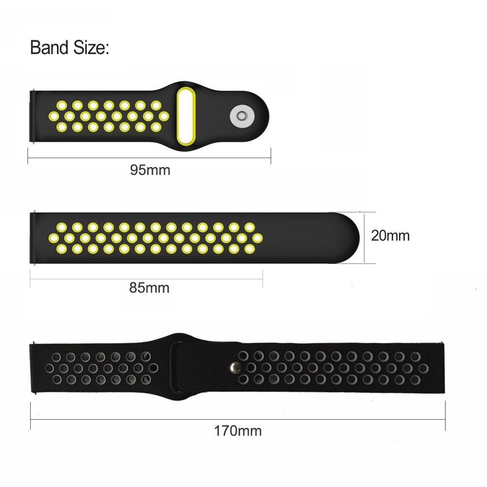 Silicone Strap Bracelet For Huami Amazfit Bip Strap Stratos Pace For Amazfit Gts Gtr 47mm For Garmin Forerunner 645 Vivoactive 3