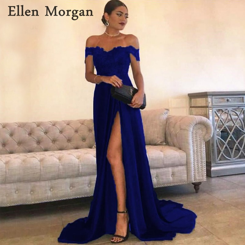 Royal Blue Chiffon   Prom     Dresses   for Women with Lace Appliques Sexy Off Shoulder Split Zipper Special Occasion Party Gowns 2019