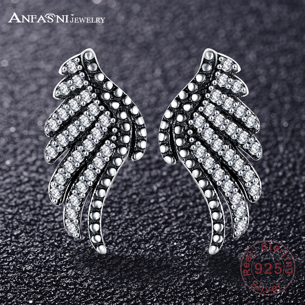 ANFASNI Fashion 925 Sterling Silver Majestic Feathers Wing Stud Earrings With Clear CZ For Women Mothers Day PSER0003-B ...