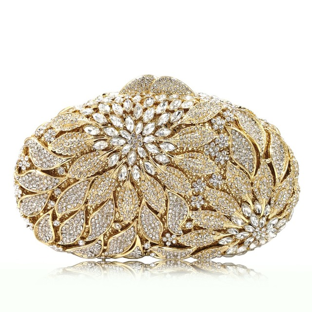 Luxury Rhinestone Gold Metal Leaves White Crystals Evening Clutch  1