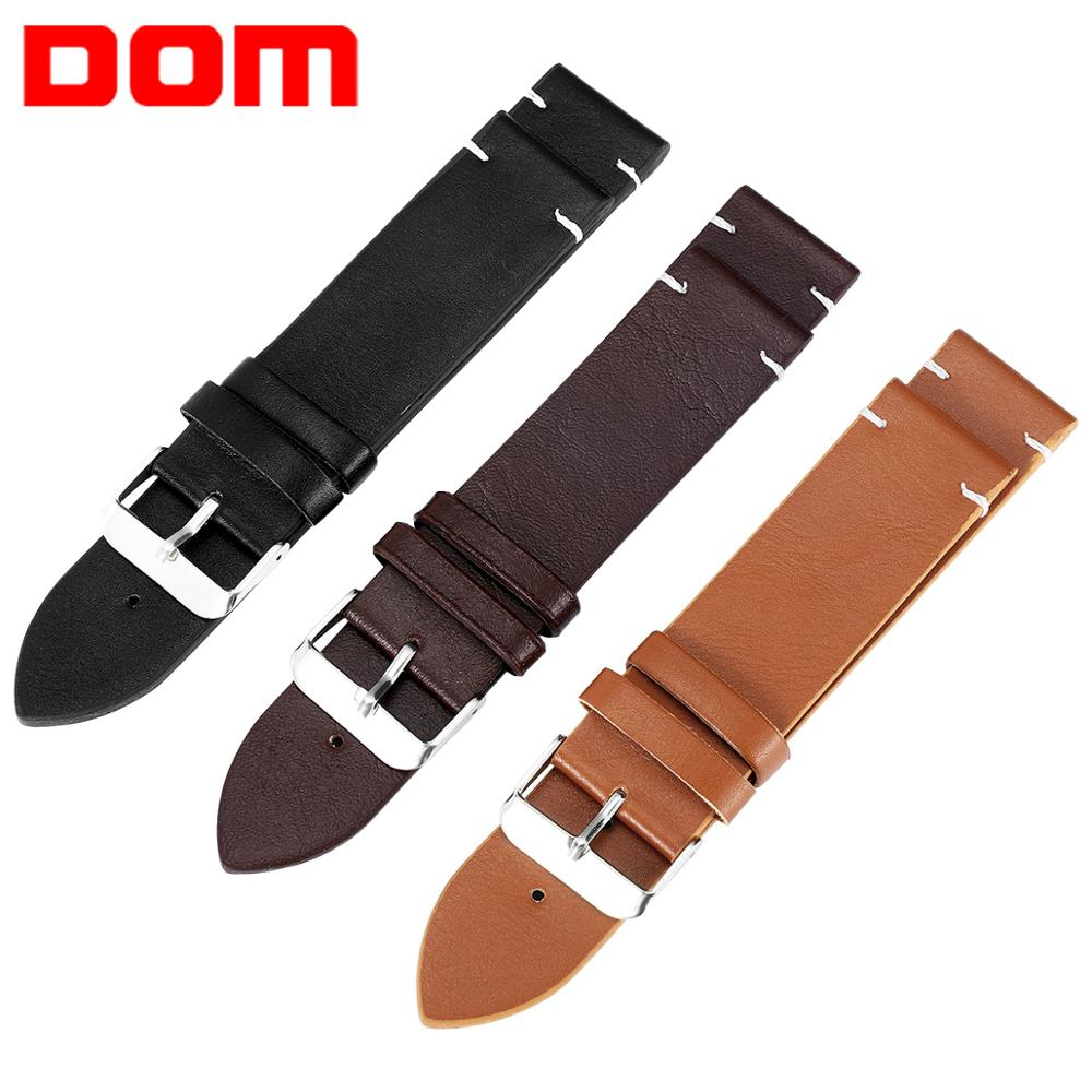 DOM Watch Band Faux Leather Straps Watchbands 18mm 20mm 22mm Watch Accessories Men Brown Black Brown Yellow Belt Band Bracelet