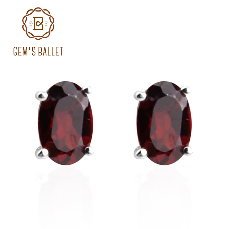 GEM'S BALLET Oval Garnet  Stud Earrings Genuine 925 Sterling Silver Natural Gemstone Fine Costume Jewelry Accessories Women Gift