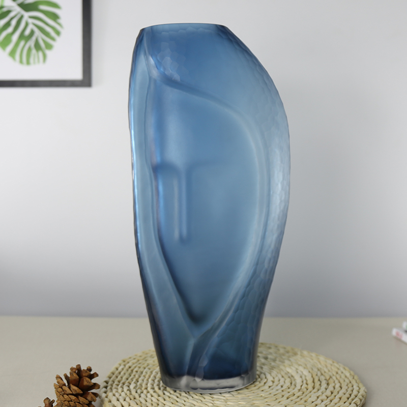Blue Beauty Face Terrarium Colored Glass Vase For Room Decoration