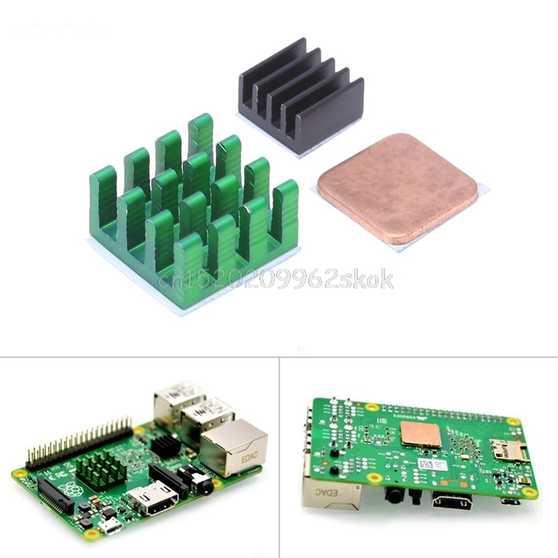 3Pcs Aluminum Heat Sink w/ Copper Cooling Sinks for Raspberry Pi 3/2 Model B/B+ #H029# synthetic graphite cooling film paste 300mm 300mm 0 025mm high thermal conductivity heat sink flat cpu phone led memory router