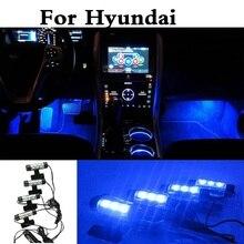 New 4x3LEDs Car Interior Lamp Decorative Atmosphere Lights Styling For Hyundai Getz Grandeur i10 i20 i30 i40 Maxcruz Veracruz XG