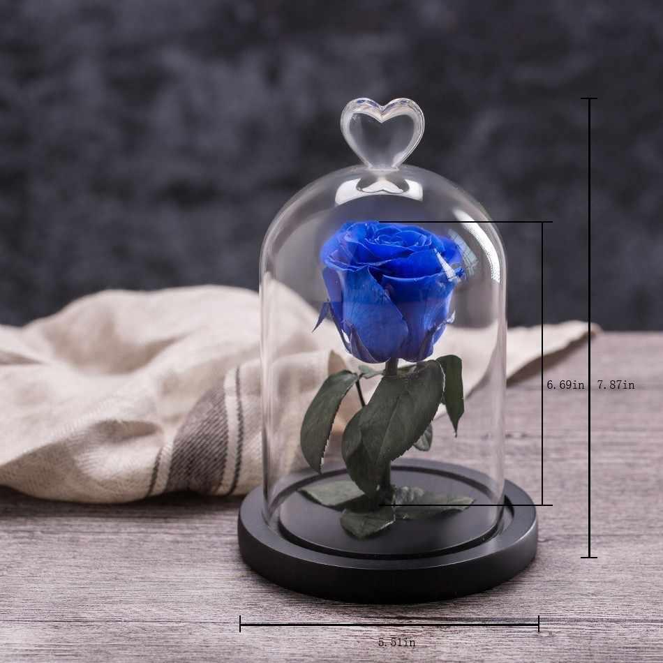 Abadi Bunga Mawar dengan Cinta Kaca Hitam Case Buatan Bunga Hadiah untuk Tahun Baru Valentine Natal GIF Baik Dekorasi Rumah