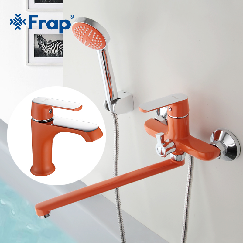 Frap new set 350mm Outlet pipe Bathtub shower faucet with bathroom basin faucets cold and hot