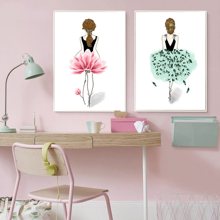 nordischen stil aquarell portr t m dchen leinwand malerei f r kinderzimmer dekoration druck und. Black Bedroom Furniture Sets. Home Design Ideas