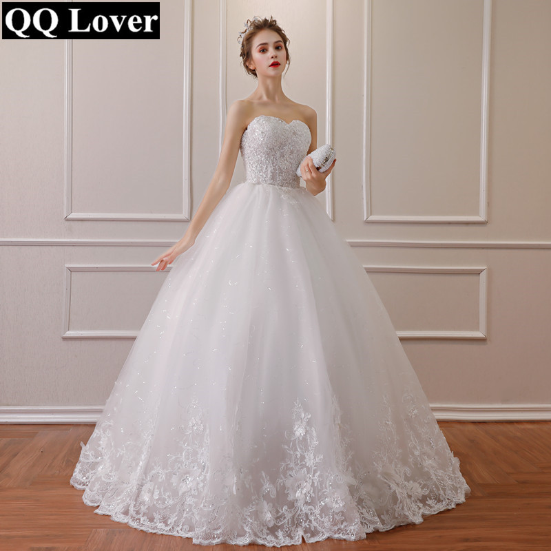 QQ Lover 2019 New Lace Shining Beading Wedding Dress With Three dimensional Flowers Plus Size Vestido