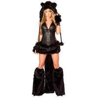 Women Black Cat Faux Fur Halloween Costume Adult Animal Fantasia Cosplay Fancy Dress
