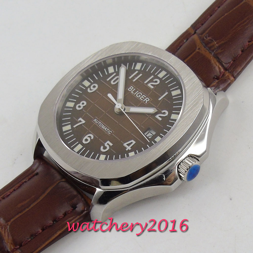 39mm Bliger Brown dial Date Sapphire Automatic Movement men 39 s Watch in Mechanical Watches from Watches
